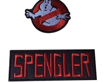 Ghostbusters No Ghost With Spengler Red on Black Name Tag Costume Patch Set of 2
