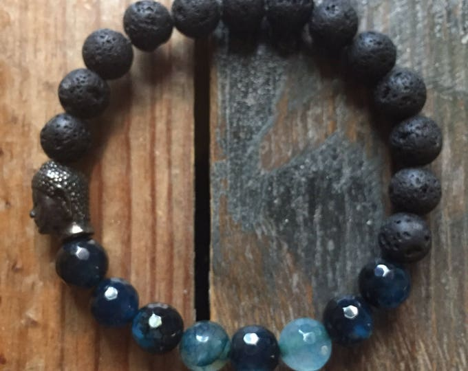 Stackable Mala Inspired Essential Oil Diffuser Lava Bead, Faceted Dragon Vein Agate + Buddha Bracelet (single bracelet)