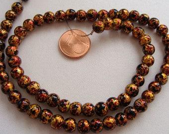 1 fil 70 perles environ Rondes 6mm verre peint Jaune multicolores PV-peint-25 DIY création bijoux