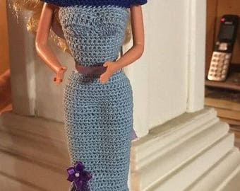 Handmade Crocheted Barbie Dress with shoes- Blue and Purple