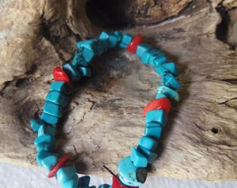 Turquoise blue bracelet and coral