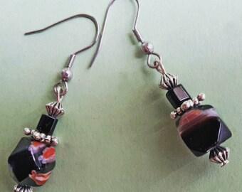 Boucles d'Oreille millefiori facettes noir et argent