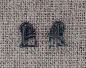 spinning wheel earrings - sterling silver studs, blackened