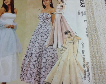 McCall's 2598 Misses'Lined Dress, Crinoline and Stole Size E 14-16-18, Evening Gowns Dresses Pram Dress Sewing Pattern Uncut Grafts