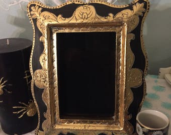 Black and Gold black scrying mirror