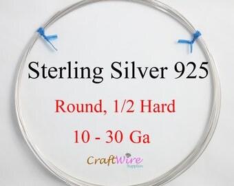 925 Sterling Silver Wire, Round, Half Hard, 10 12 14 16 18 19 20 21 22 24 26 28 30 Gauge, Jewelry Making Wire, Craft, 1 5 15 25 feet