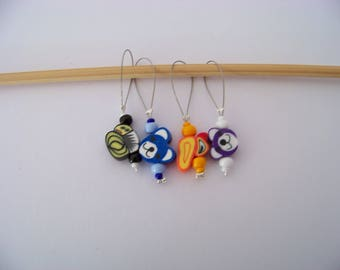 Fun beaded Stitch Markers - set of 4 - knit knitting charms,  stitch markers polymer clay