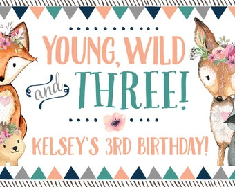 Woodland Birthday Party, Young Wild and Three, Facebook Event Cover Photo, Woodland Girl Party