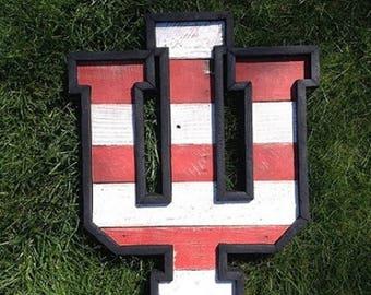"Reclaimed Wood IU   24"" Rustic IU Sign   Indiana University   Indiana   Hoosiers   IU Decor   Indiana University Decor   Rustic   Hoosier"