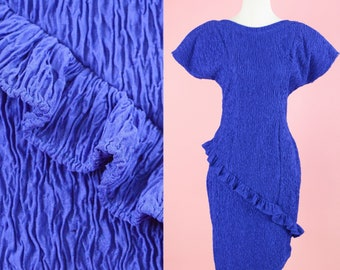 Vintage 90s Degre', Blue Bodycon Dress // Purple, 80s Cocktail Dress, Womens Size Small Medium
