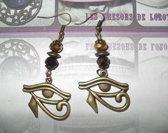 """""""Egypt"""" earrings bronze and glass beads"""