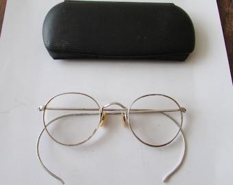 Vintage Gold Filled Wire Frame Eyeglasses GF Bifocal Pair Glasses Silvertone Design on Frames