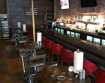 Restaurant pub spool top pedestal truck wheel base tables
