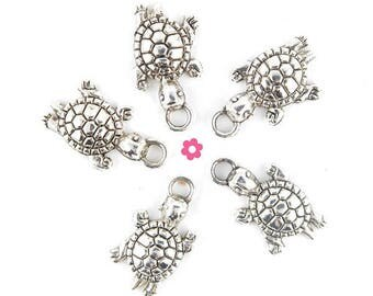 x 6 24x13mm silver turtle charm (198D)