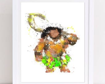 70% moana watercolor, watercolor moana, maui watercolor, watercolor maui, disney watercolor, watercolor disney, disney poster, disney print,