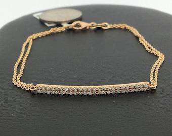 18K Rose Gold Natural Genuine Diamond 2 Rows Diamond Bar Bracelet