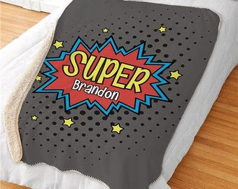 Personalized Super Hero Blanket Sherpa Throw Blanket