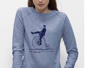 Sweat-shirt bio Femme coton équitable  Bleu clair chiné  confort Imprimé Cyclopède 63-Trips