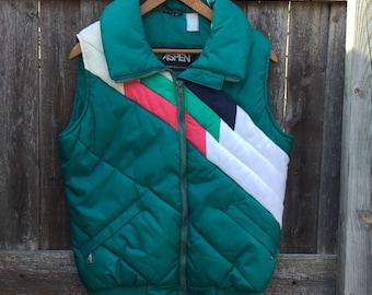 1980s Ski Vest - Vintage Women's Ski Vest - Puffer Vest - Size Small-Medium - Geometric Pattern - Aspen Ski Vest