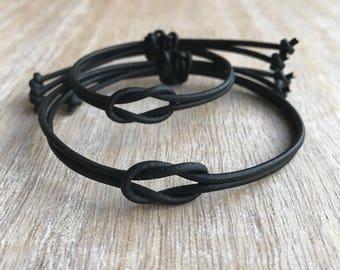 Black Couple Bracelets, His and hers Bracelets, Celtic Knot Matching Bracelets LC001129