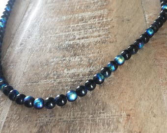 Vintage Iridescent MoonGlow Purple Blue Gold Black Glass Beaded Necklace #flashsale