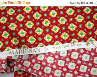 SALE 10% OFF Vintage French Cotton Fabric by Marignan.  Long Length 2.60m  (1409)