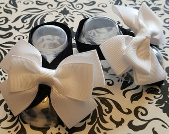 Black and White Double Bow Baby Barefoot Sandals