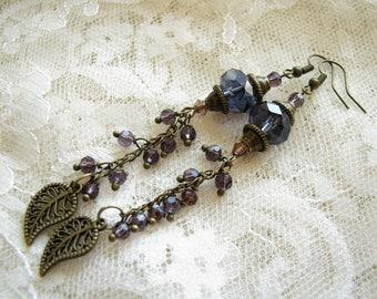 Leaf earrings Purple earrings Long earrings Dangle earrings Gift for her Grape earrings Crystal earrings Girlfriend Gift earrings Gift idea