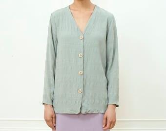 vintage green shirt | light green sage button down top | mint green blouse | big button green stripe rexx top | s | small | 1990s | 90s