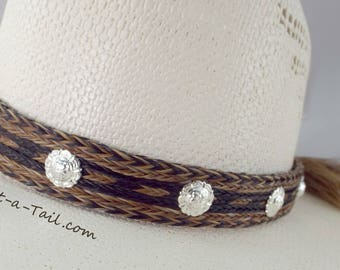 Cowboy Horse hair hat bandSilver Conchos wide 7 Strand double horse hair tassel, wider style and Stetson perfect, Distinctive Natural colors