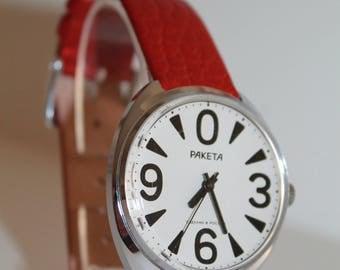 Soviet Era Wrist Watch RAKETA BIG ZERO Classic men's watch Iconic Soviet men's wrist watch watch 80s. Working And Perfect Condition 1980s!!!