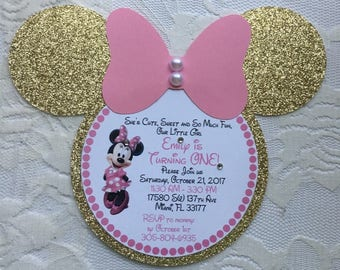 Minnie Mouse Invitation- Minnie Mouse Birthday Invitation- Minnie Mouse Head Invitation- Pink and Gold Minnie Mouse Invitation