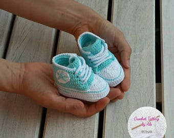 Booties, crochet shoes converse-newborn-size 16-3-6 months-teal cotton