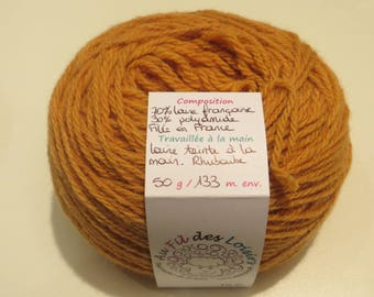 Hand dyed yarn 70% French wool - 30% polyamide, spun in France,