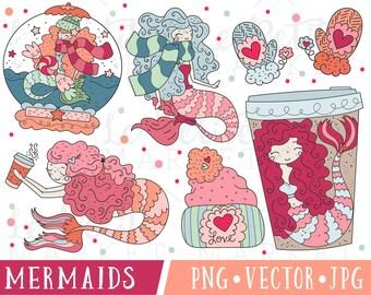 Mermaid Clipart, Cute Mermaid Clipart Set, Valentine Mermaid Clipart, Mermaid Valentine Clipart, Winter Mermaids, Coffee and Mermaid Vectors