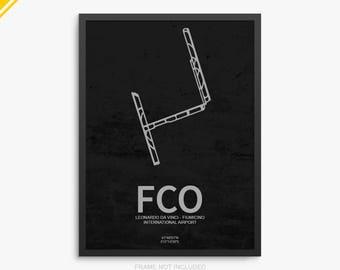 FCO Airport, Leonardo da Vinci Fiumicino Airport, Rome Italy, FCO Airport Poster, Rome Fiumicino Airport, Rome, Rome Airport Poster, Italy