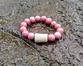 Rhodonite Gemstone with Antler Bead