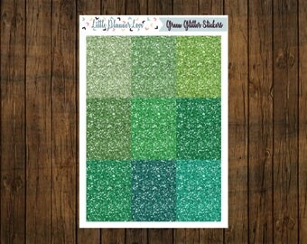Variety of Green Glitter Headers Stickers for Planners
