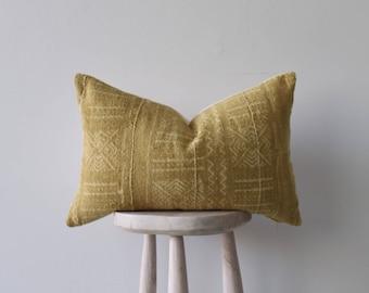 African Mudclot pillow 'Madu in Mustard' Lumbar