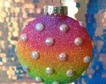 Rainbow Sparkle Christmas Ornament