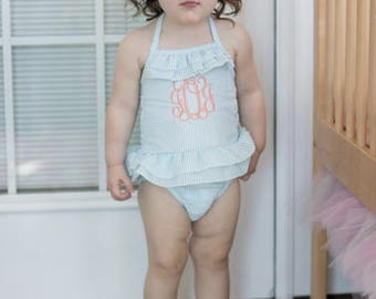 Girls Monogrammed Seersucker one piece bathing suit ~ Monogrammed bathing suit