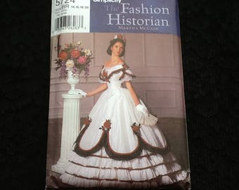 Simplicity pattern 5724. Uncut misses' two piece Civil War era ball dress. Designed to be worn with a crinoline and waist cincher corset.