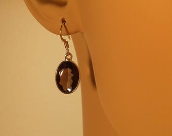 Smoky quartz earrings set in sterling silver, faceted gemstone, free shipping