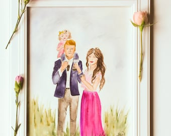 Family, Wedding, and Couple, Watercolor Portraits