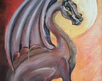 Dragon ORIGINAL chalk pastel drawing A3