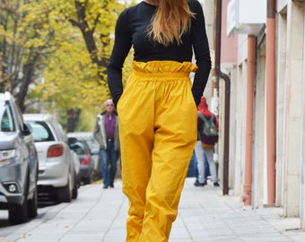 Mustard High Waist Pants, Large Wide Leg Pants, Extravagant Design Pants, Elegant Trousers by SSDfashion