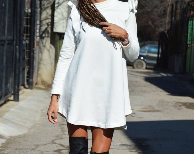 Asymmetric White Cotton Sweatshirt, Extravagant Casual Blouse, Long Sleeve Tunic Top, Women Design Dress by SSDfashion