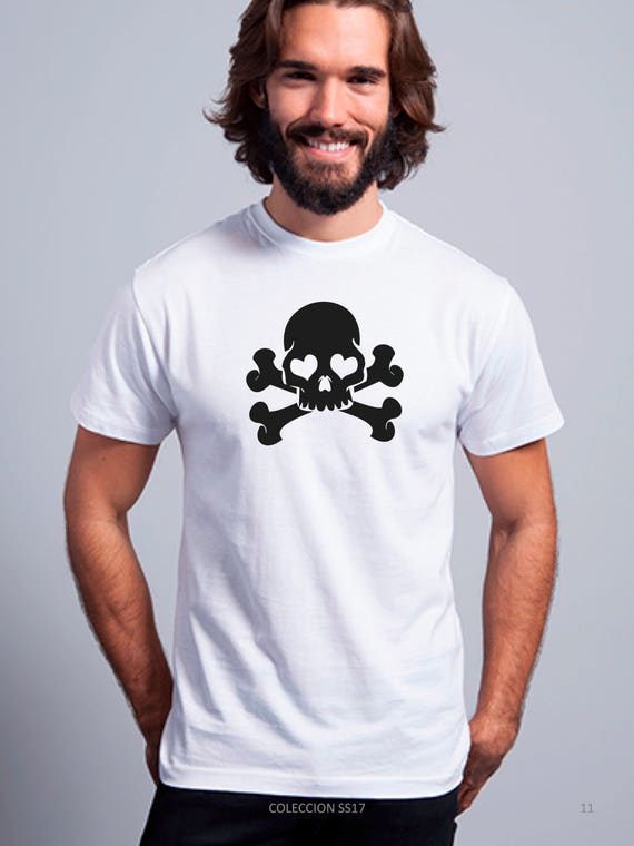 REBAJADO Round neck men short sleeve t-shirt SKULL