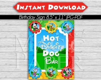 Mickey Mouse Clubhouse Birthday Party Sign, Hot Diggity Dog Bar, 8.5 x 11 INSTANT DOWNLOAD