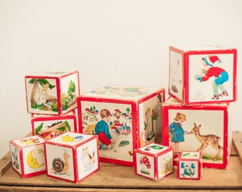 Vintage wood nesting boxes fairy tales